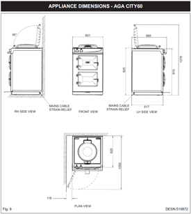 AGA 60 Dimensioned Line Drawing