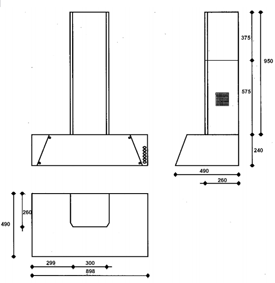 AGA S-Series Six-Four Cooker Hood Dimensioned Drawing