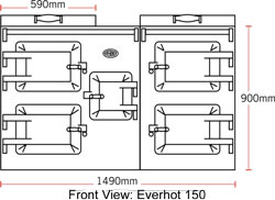 Everhot 150 - dimensioned drawing