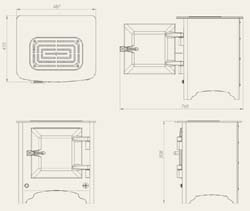 Everhot Electric Stove, dimensioned drawing