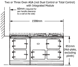 Two or Three Oven AGA with Integrated Module Dimensioned drawing, front elevation