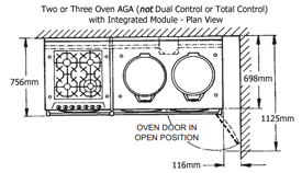 Two or Three Oven AGA with Integrated Module, dimensioned drawing, plan view