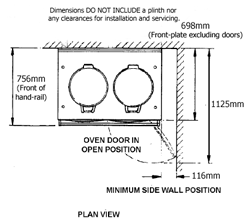 Two Oven AGA Plan View, dimensioned drawing