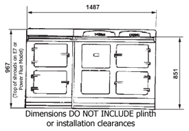 Four oven AGA Cooker - dimensioned drawing, front elevation