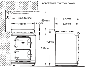AGA S-Series Four-Two Cooker front elevation