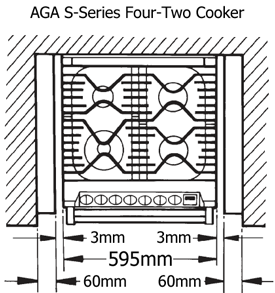 AGA S-Series Four-Two Cooker Plan View