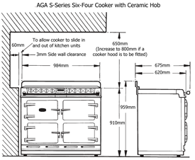 AGA S-Series Six-Four Cooker front elevation